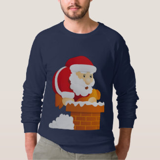 Santa Sneaking Down Chimney on Men's Sweatshirt