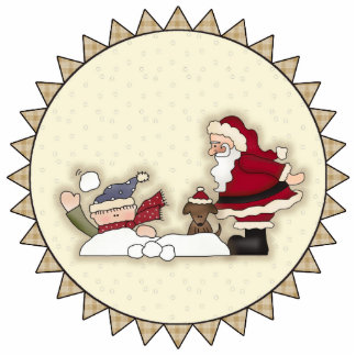 Santa Snowball Fight Ornament Acrylic Cut Out