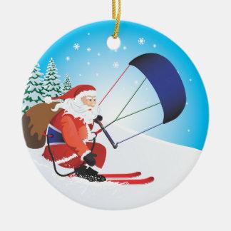 Santa Snowkite Ski Ornament