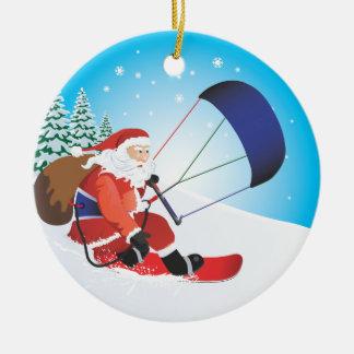 Santa Snowkite Snowboard Ornament