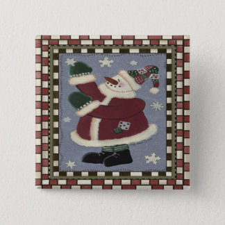 Santa Snowman 2 Inch Square Button