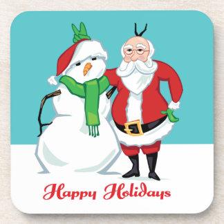 Santa Snowman Photo Coasters