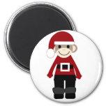 Santa Sock Monkey 2 Inch Round Magnet