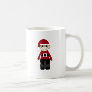 Santa Sock Monkey Basic White Mug