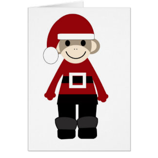 Santa Sock Monkey Card