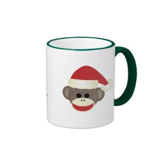 Santa Sock Monkey Christmas mug
