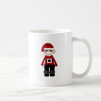 Santa Sock Monkey Classic White Coffee Mug