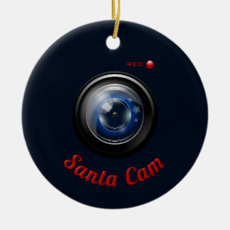 Santa Spy Camera Ceramic Ornament