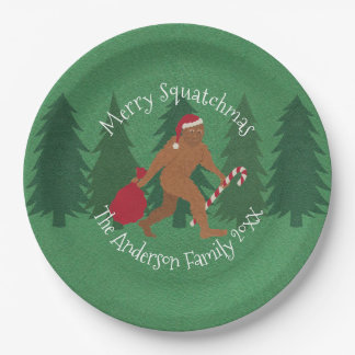 Santa Squatch Christmas Party Squatchy Holiday 9 Inch Paper Plate