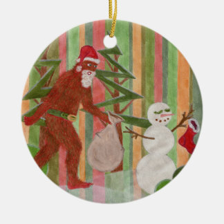 Santa-Squatch: I Believe Ceramic Ornament