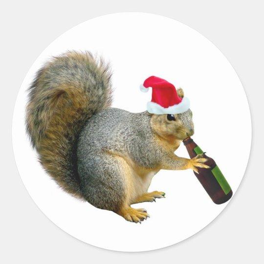 Santa Squirrel Drinking Beer Classic Round Sticker