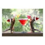 Santa Squirrels Drinking a Cocktail Photo