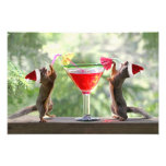Santa Squirrels Drinking a Cocktail Photographic Print