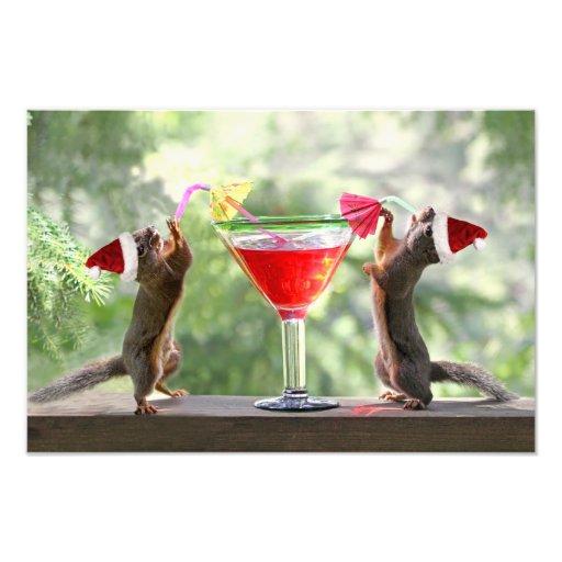 Santa Squirrels Drinking a Cocktail Photographic Print