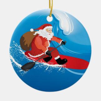 Santa Stand Up Paddle Round Ceramic Ornament