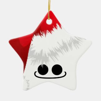 Santa Star Ceramic Star Ornament