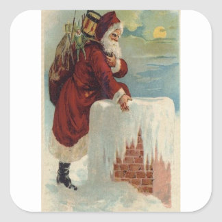 Santa Stepping Into A Chimney Square Sticker