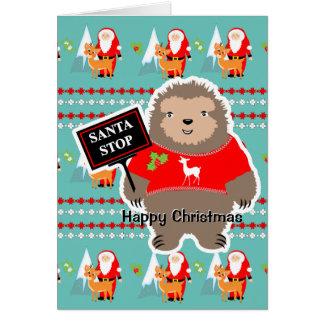 Santa Stop Cute Whimsy Festive Sloth Christmas Card