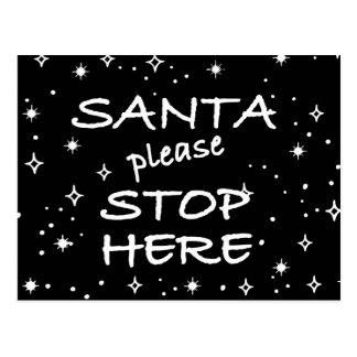 Santa stop here postcard