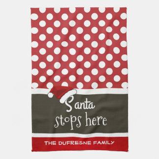 """""""Santa Stops Here"""" Christmas Polka Dots Hand Towel"""