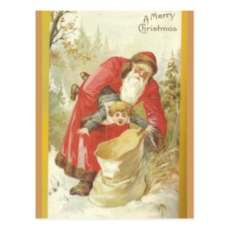 Santa Stuffing Naughty Boy in a Sack Postcard