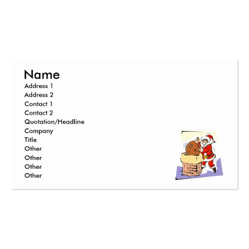 Santa stuffing sack in chimney business card template