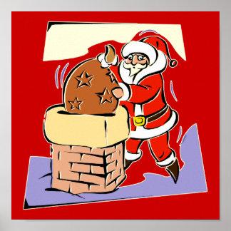 Santa stuffing sack in chimney poster