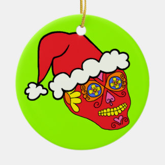 Santa Sugar Skull Ceramic Ornament