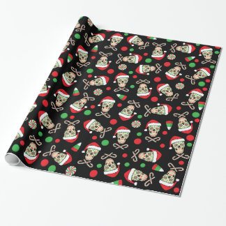 Santa sugar skulls & candy (Customizable) Wrapping Paper