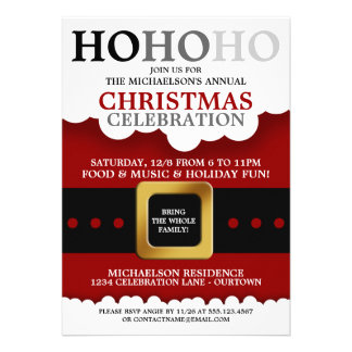 Santa Suit Christmas Party Personalized Invites
