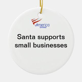 Santa Supports Small Businesses Round Ceramic Ornament