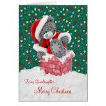 Santa Teddy Bear Granddaughter Christmas Card