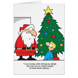 Santa Texting Presents Lost Greeting Card