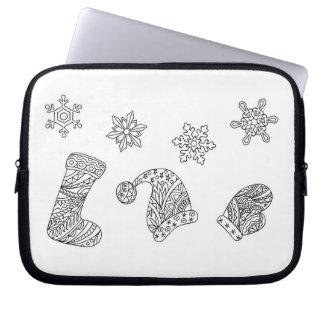 santa things and snowflakes laptop sleeve