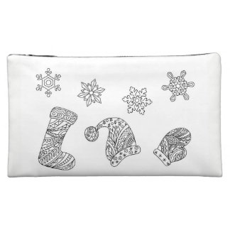 santa things and snowflakes on the white cosmetic bag