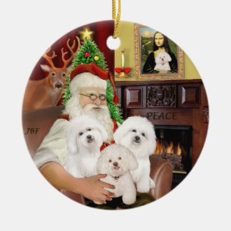 Santa - Three Bichon Frise Round Ceramic Ornament