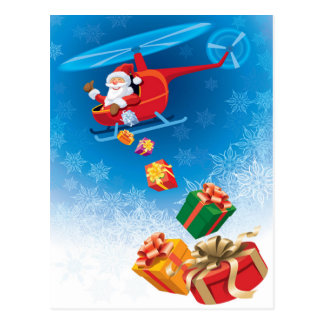 Santa Throwing Gifts from Helicopter Funny Postcard