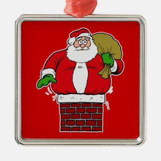 Santa too fat stuck in chimney metal ornament