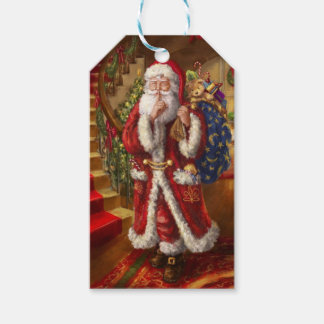 Santa Trying To Be Quiet While Delivering Gifts Pack Of Gift Tags