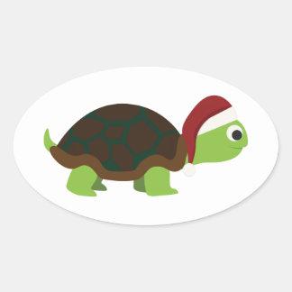 Santa Turtle Oval Sticker