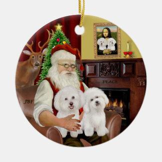 Santa - Two Bichon Frise Round Ceramic Ornament