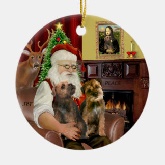 Santa - Two Border Terriers Ceramic Ornament