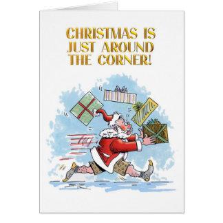 Santa Unprepared cartoon Christmas greeting card