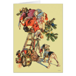 Santa Up a Ladder Card