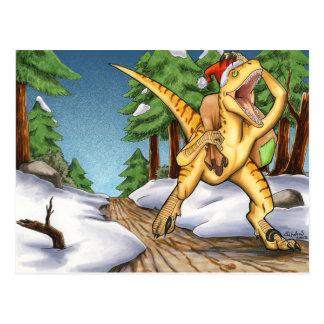 Santa Velociraptor Postcard