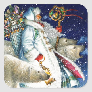 Santa Walking With Polar Bears Square Sticker