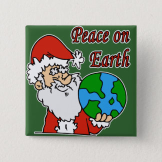 Santa wants peace on earth 2 inch square button