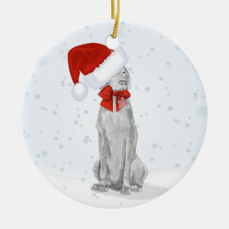 SANTA WEIMARANER IN THE SNOW CERAMIC ORNAMENT