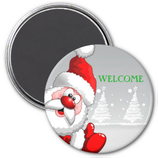 Santa WELCOME Round Magnet