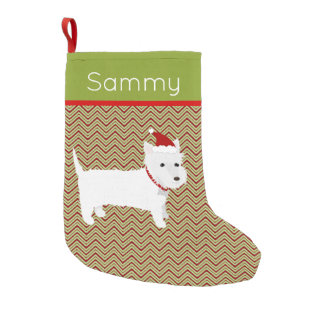 Santa West Highland Terrier Small Christmas Stocking
